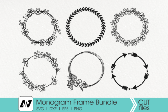 Monogram Frame Wreath Graphic Crafts By Pinoyartkreatib