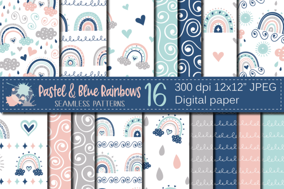 Pastel Rainbows Digital Paper / Patterns Graphic Patterns By VR Digital Design