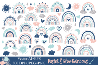 Pastel and Blue Cute Rainbows Clipart Graphic Illustrations By VR Digital Design