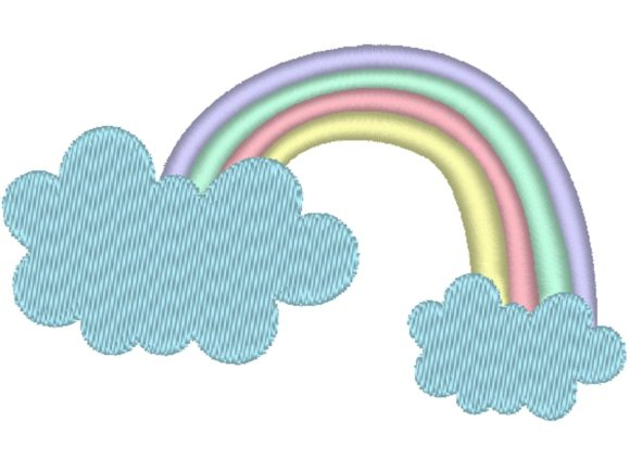 Rainbow and Clouds Bedroom Embroidery Design By carasembor