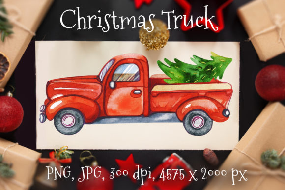 Red Truck Christmas Graphic Illustrations By KsenyaArt