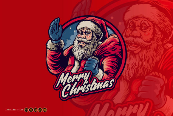 Print on Demand: Santa Claus Merry Christmas with Bag Graphic Illustrations By artgrarisstudio