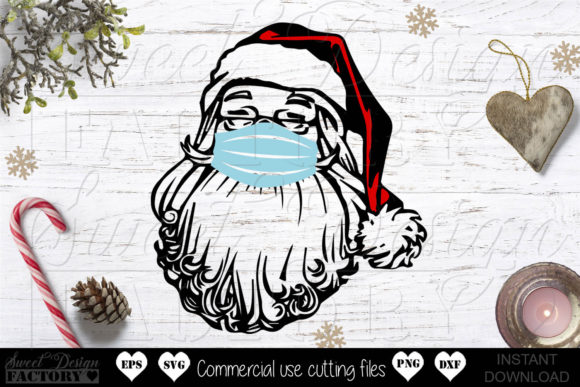 Print on Demand: Santa Claus with Mask Graphic Crafts By SweetDesignFactory
