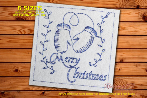 Santa Gloves Christmas Embroidery Design By Redwork101