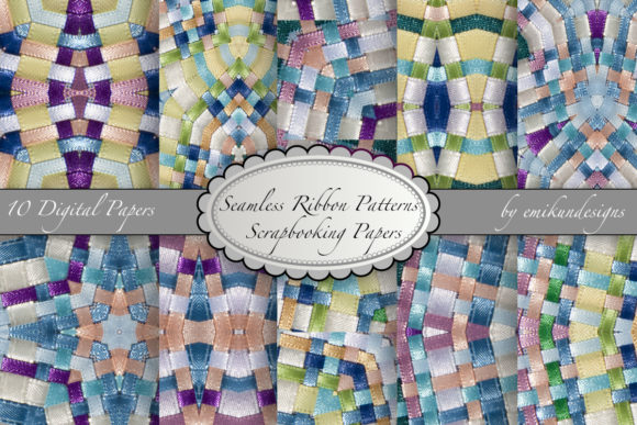 Seamless Ribbon Patterns Graphic Patterns By emikundesigns
