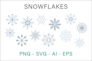Print on Demand: Snowflakes Clipart Vector Graphic Illustrations By AS Digitale