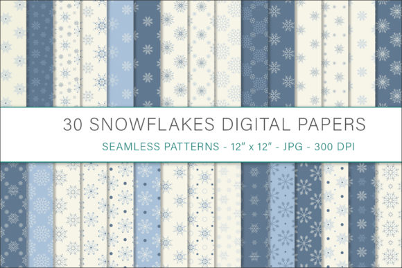 Print on Demand: Snowflakes Digital Papers Graphic Patterns By AS Digitale