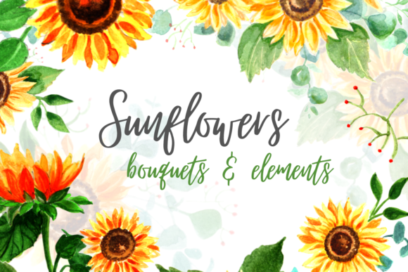 Sunflowers Watercolor Clipart Bundle Graphic Crafts By SvgOcean