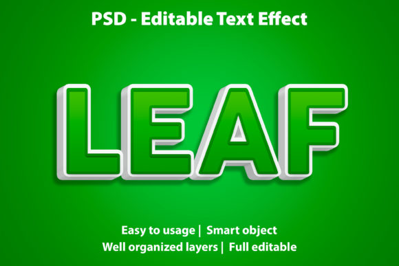 Text Effect Green Leaf Premium Graphic