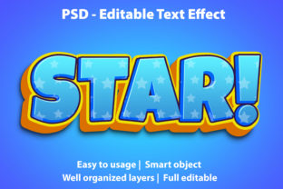 Print on Demand: Text Effect Star Premium Graphic Graphic Templates By yosiduck