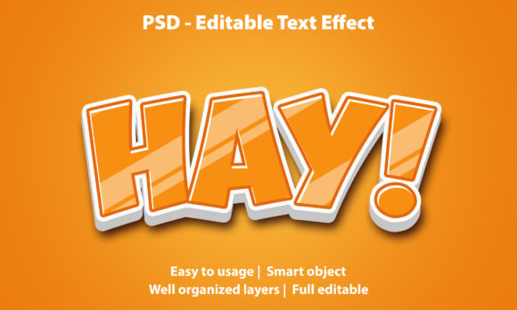 Text Effect Yellow Hay Premium Graphic Graphic Templates By yosiduck