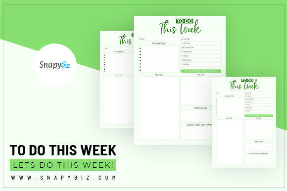 Print on Demand: To Do This Week | Printable Graphic Print Templates By SnapyBiz