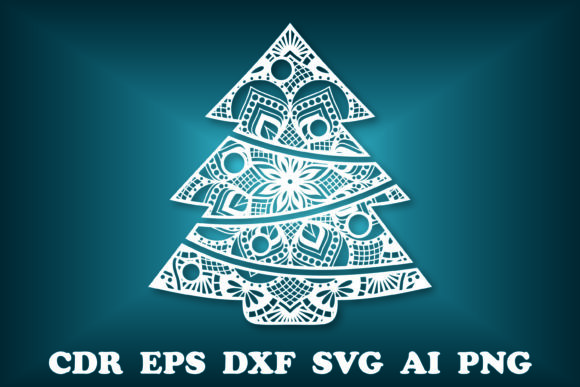 Print on Demand: Tree Mandala, Christmas SVG, Tree SVG Graphic Print Templates By vectormarket