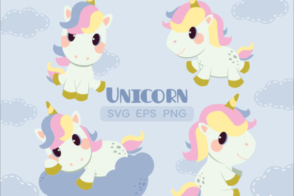 Unicorn Set with SVG EPS PNG Clipart Graphic Illustrations By Guppic the duck