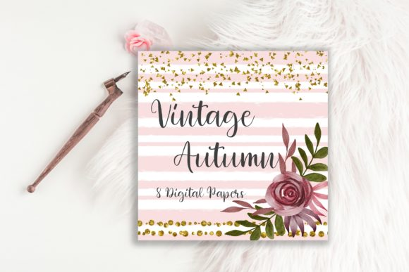 Vintage Autumn Flower Digital Papers Graphic Backgrounds By PinkPearly