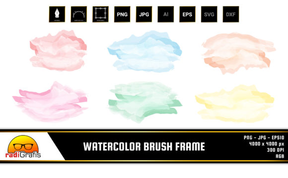 Watercolor Brush Frame Clip Art Graphic By Radigrafis Creative Fabrica