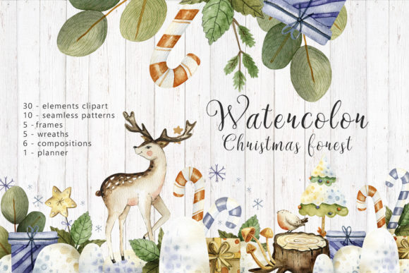 Print on Demand: Watercolor Christmas Forest Graphic Illustrations By By Anna Sokol