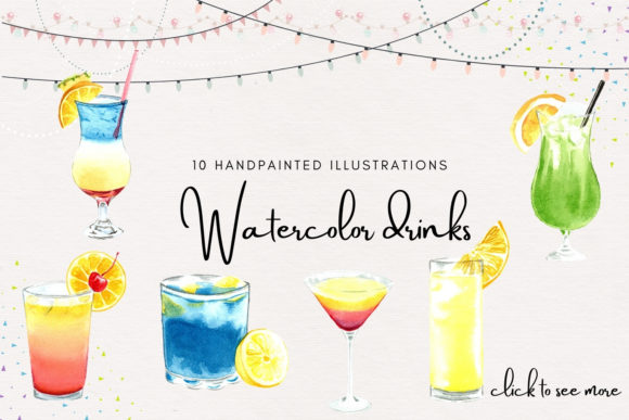 Watercolor Cocktails Clipart Graphic Illustrations By Aneta Design