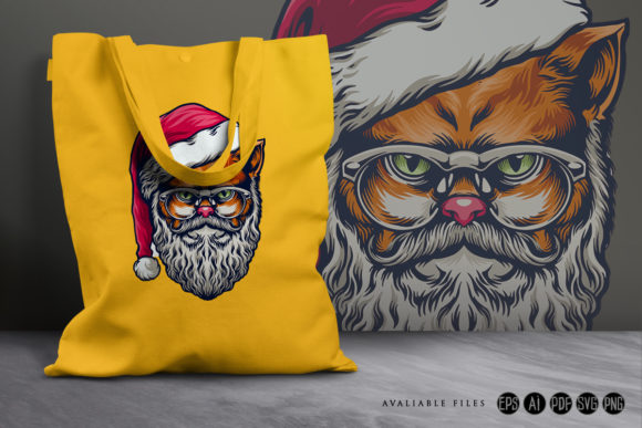 Print on Demand: Wild Cat Merry Christmas with Glasses Graphic Illustrations By artgrarisstudio