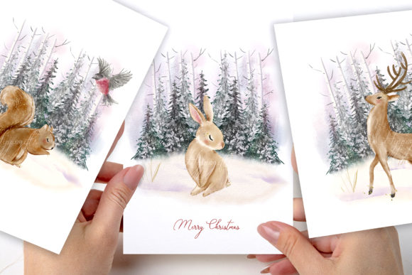 Woodland Christmas Illustrations Graphic Downloadable Digital File