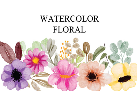Print on Demand: Aset Flowers Watercolor EPS Graphic Illustrations By goodigital
