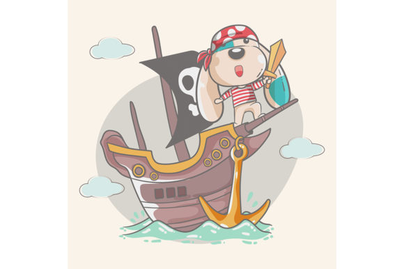 Cute Dog Little Pirate Graphic Illustrations By maniacvector