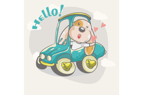 Cute Dog on a Car Graphic Illustrations By maniacvector