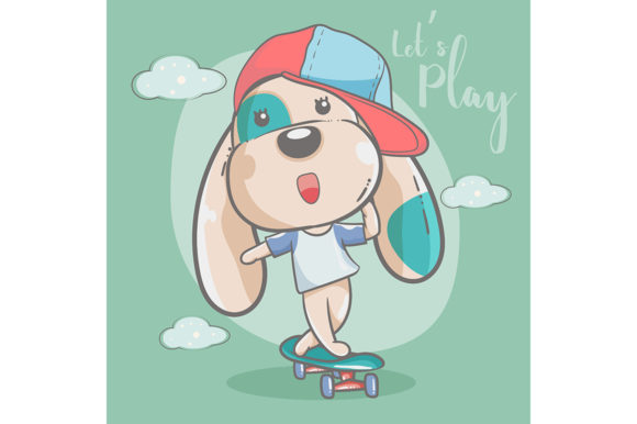 Cute Dog Playing Skateboard Graphic Illustrations By maniacvector
