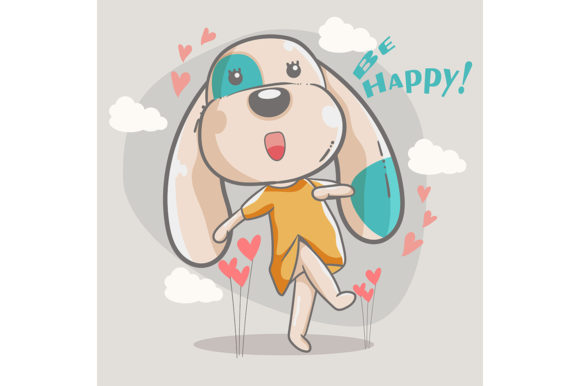 Cute Happy Dog Girl Graphic Illustrations By maniacvector