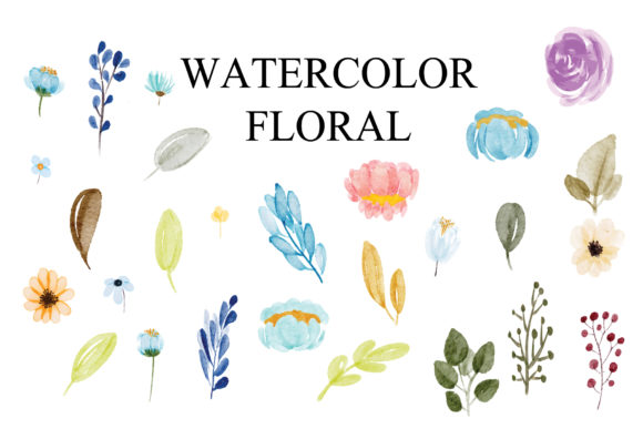Print on Demand: Floral Aset Watercolor EPS Graphic Illustrations By goodigital
