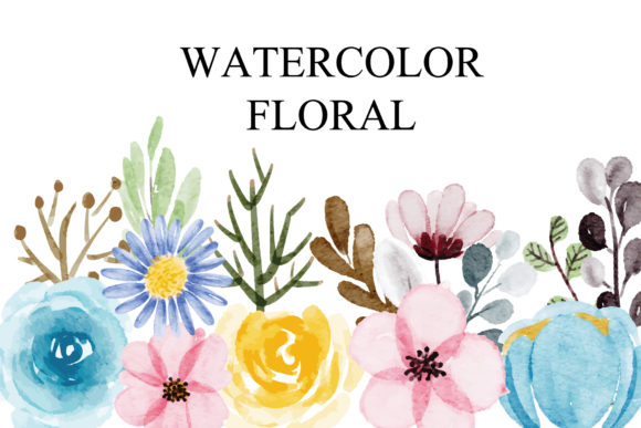 Print on Demand: Set of Watercolor Floral EPS Graphic Illustrations By goodigital