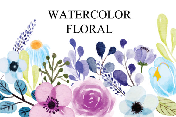 Print on Demand: Set Watercolor Flowers and Leaves Graphic Illustrations By goodigital