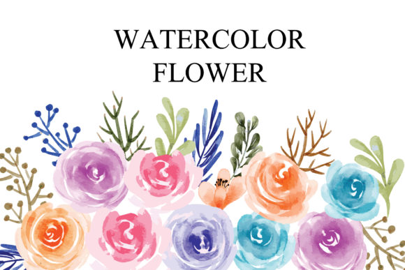 Print on Demand: Watercolor Floral Element Graphic Illustrations By goodigital