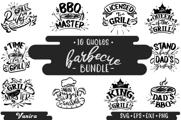 Print on Demand: 10 Barbecue Bundle | Lettering Quotes Graphic Crafts By Vunira