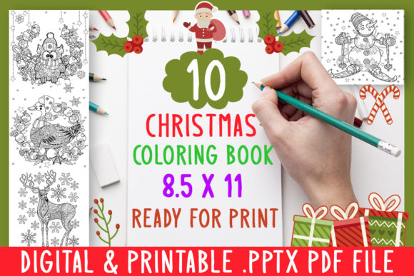 Print on Demand: 10 Christmas Coloring Book for Kids Grap Graphic Coloring Pages & Books Kids By DesignsBundles