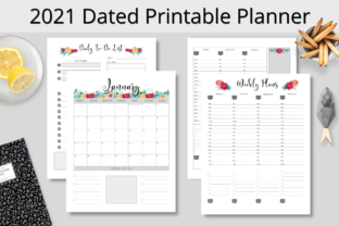 Print on Demand: 2021 Dated Printable Planner BlackFloral Graphic KDP Interiors By Hustle Smart Shop