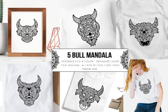 Print on Demand: 5 Bull Bundle | Mandala Graphic Crafts By Vunira