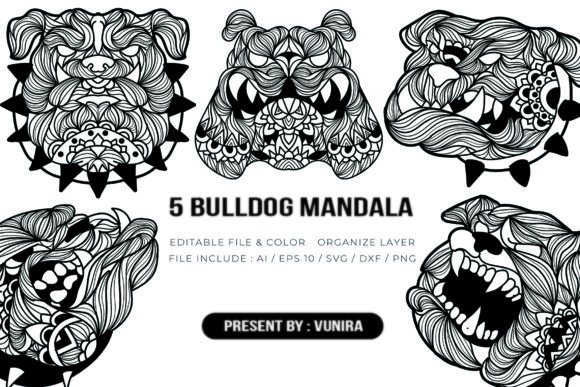 Print on Demand: 5 Bulldog Bundle | Mandala Graphic Crafts By Vunira