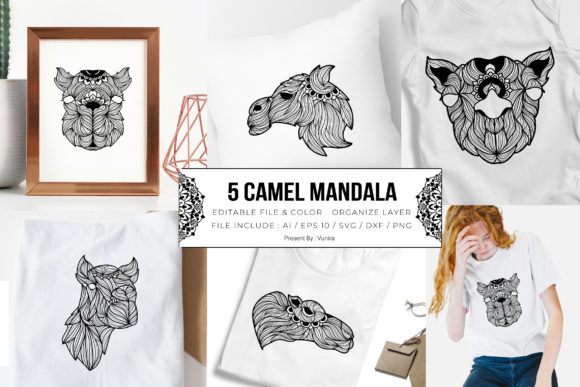 Print on Demand: 5 Camel Bundle | Mandala Graphic Crafts By Vunira