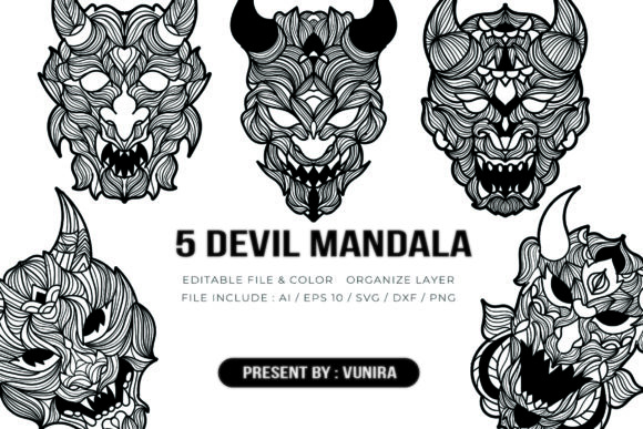 Print on Demand: 5 Devil Bundle | Mandala Graphic Crafts By Vunira