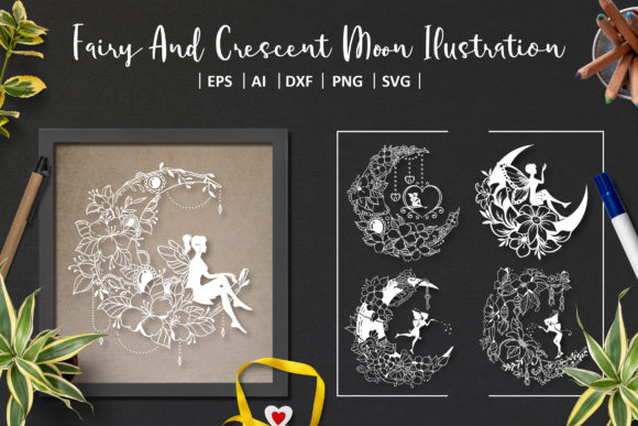 8 Crescent Moon and Fairy SVG Graphic Crafts By AllmoStudio