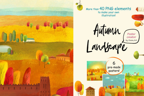 Print on Demand: Autumn Landscape - Poster Maker Graphic Illustrations By Zooza Art
