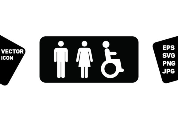 Print on Demand: Bathroom Symbol Man Woman Disabled Sign Graphic Icons By TukTuk Design