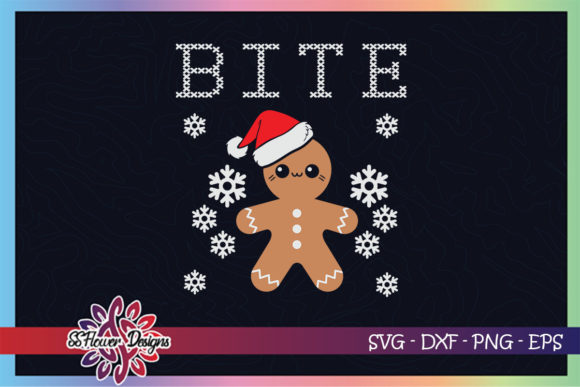Bite Gingerbread Cute Christmas Graphic Print Templates By ssflower