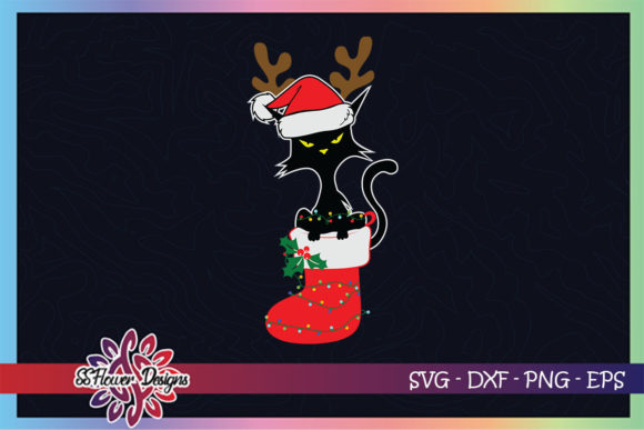 Black Cat Deer Christmas Lights in Sock Graphic Print Templates By ssflower