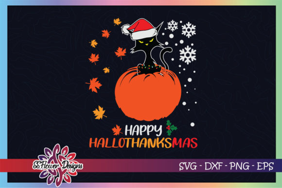 Black Cat Halloween Xmas Hallothanksmas Graphic Print Templates By ssflower