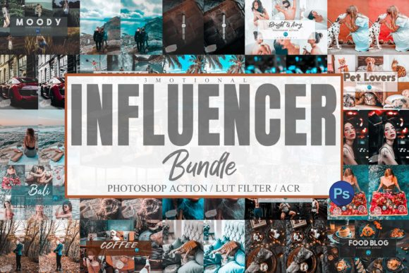 Print on Demand: Bundle 95 Photoshop Actions, ACR, LUT Graphic Actions & Presets By 3Motional