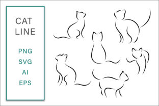 Print on Demand: Cat Line Clip Art Vector Illustration Graphic Crafts By AS Digitale