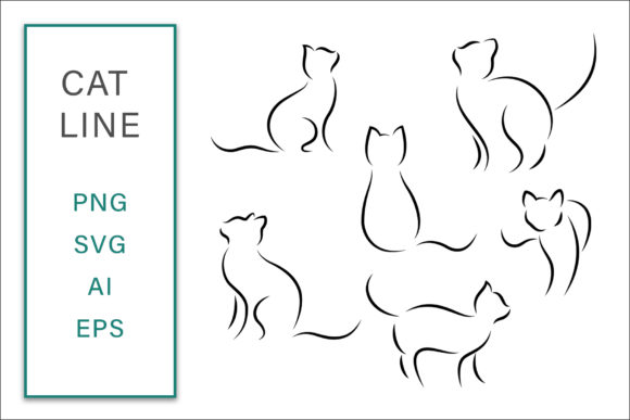 Cat Line Clip Art Vector Illustration Graphic Crafts By AS Digitale