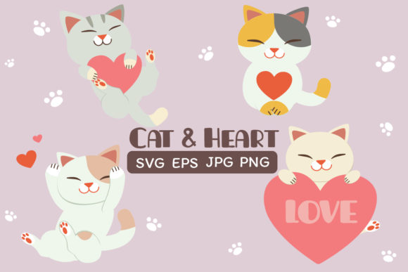 Cat and Heart Clipart Set Graphic Illustrations By Guppic the duck